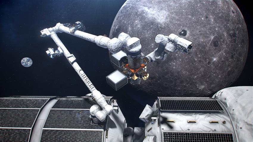 Vue d'artiste du grand bras du Canadarm3 à la station spatiale lunaire Gateway. (Sources : ASC, NASA.)